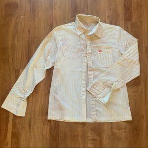 Yellow Striped Button Down Diesel Dress Shirt
